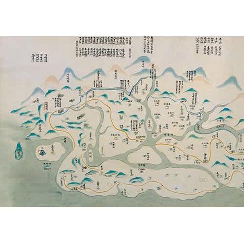 台灣民番界址圖 (乾隆25年[1760])長卷軸裱背 (圖幅 666x48cm 長卷軸精裱附錦盒)