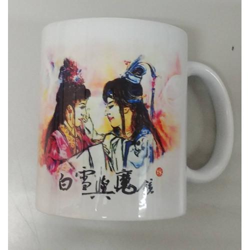 「白雪與魔鏡」繪圖馬克杯(粉、紫兩色)